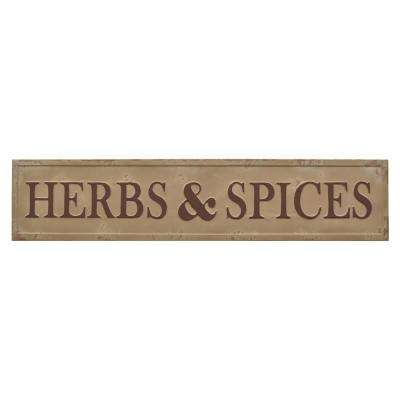 Novelty Sign-Herbs & Spices Finished in Brown - 48 X 0.5 X 10