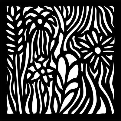 0.3 in. x 22.8 in. x 1.9 ft. Wild Flowers Recycled Plastic Charcoal Wall Art