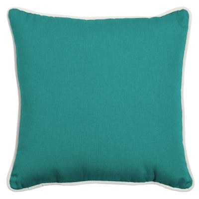 Oasis 20 in. Surf Teal Square Indoor/Outdoor Throw Pillow
