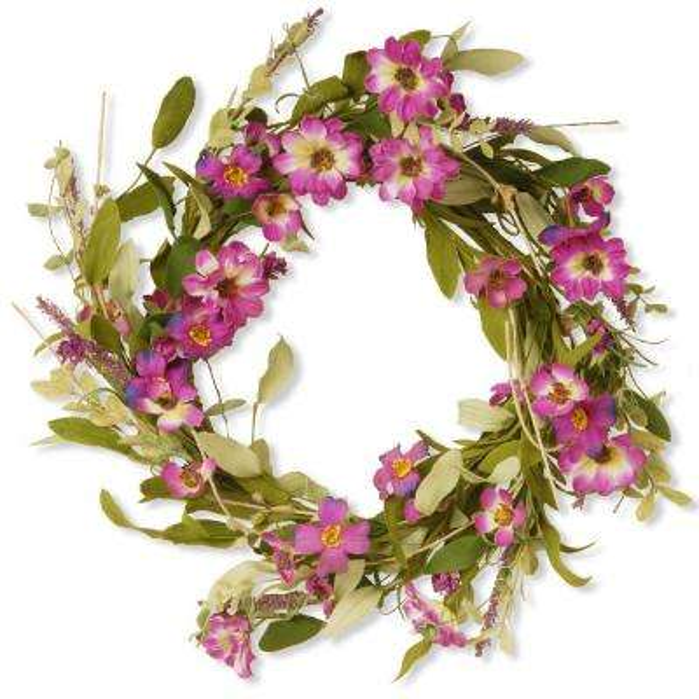 20 in. Garden Accents Purple Daisy Wreath
