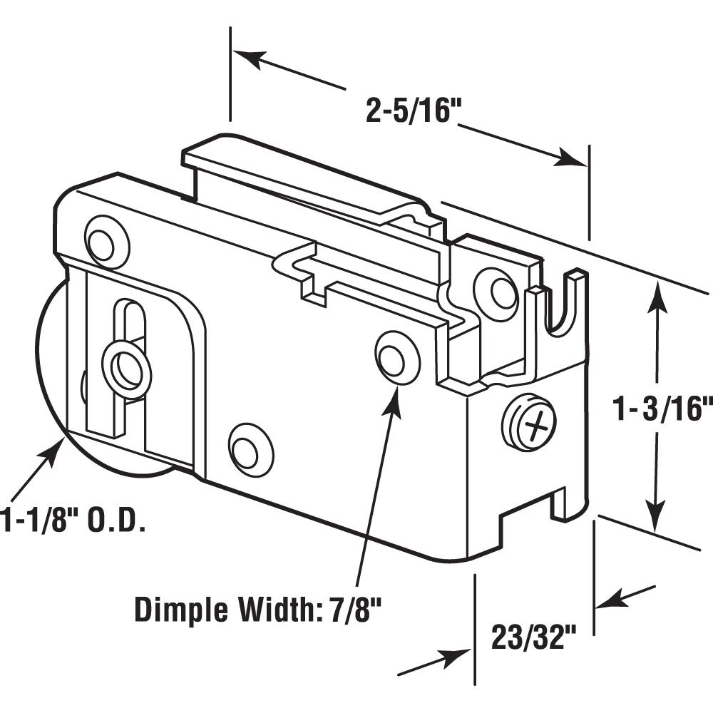 Prime-Line Products D 1527 Sliding Door Roller Assembly 1-1//8-Inch Steel Ball Bearing