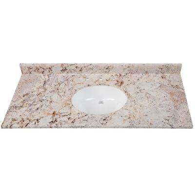 49 in. W x 22 in. D Stone Effects Vanity in Rustic Gold with White Sink