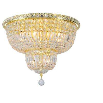 Empire Collection 10-Light Gold Ceiling Light with Clear Crystal
