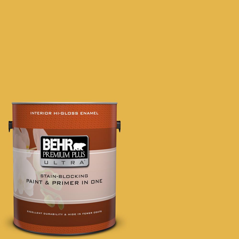 1 gal. #360D-6 Yellow Gold Hi-Gloss Enamel Interior Paint