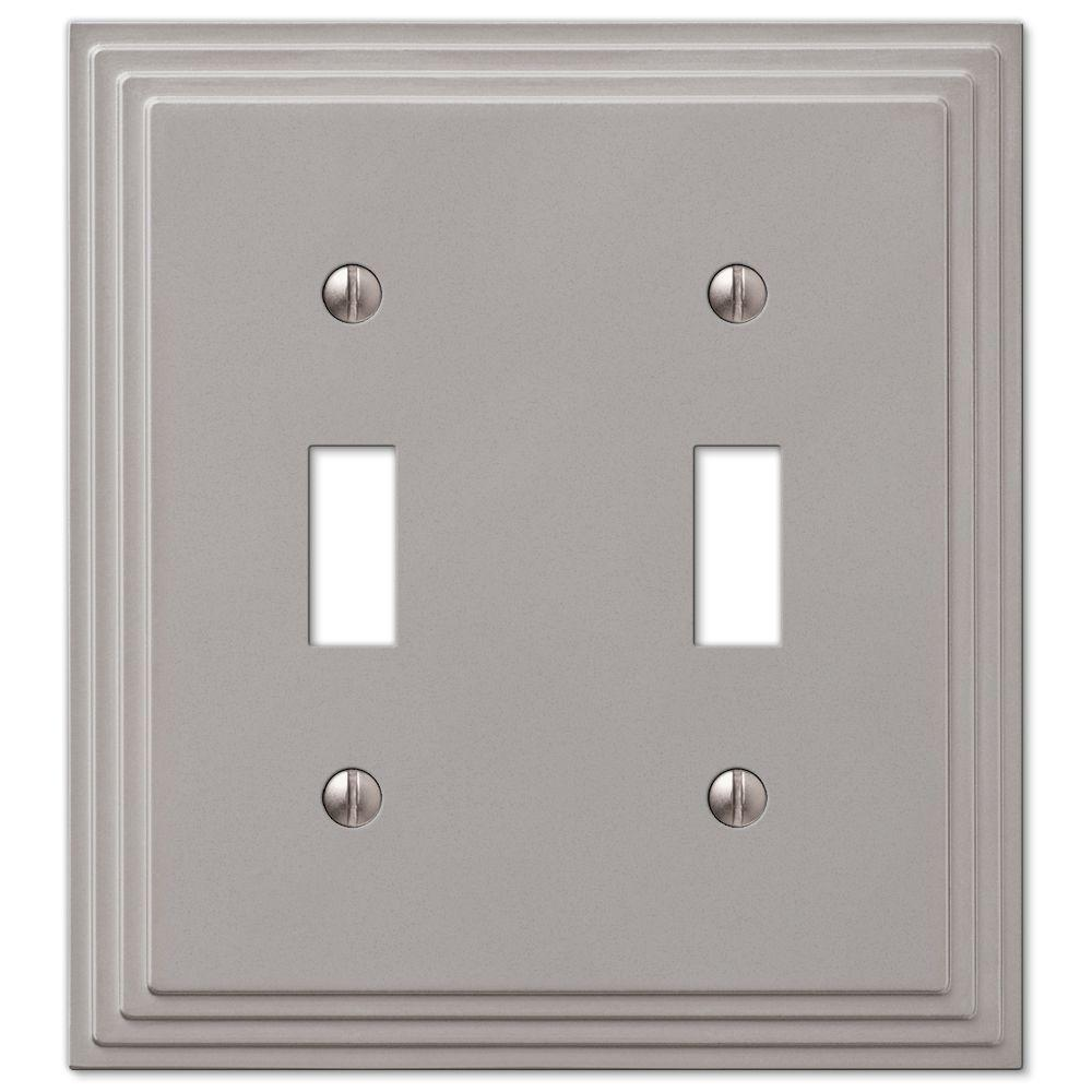 Hampton Bay Tiered 2-Toggle Wall Plate - Satin Nickel Cast