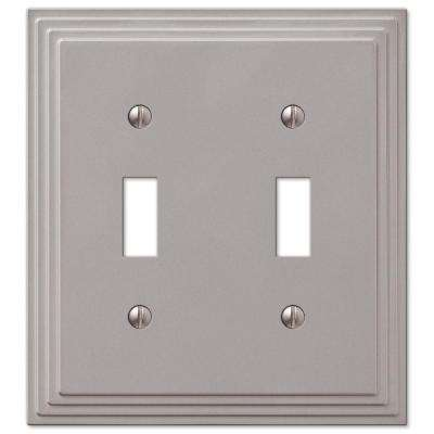 Tiered 2-Toggle Wall Plate - Satin Nickel Cast