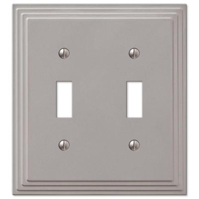 Tiered 2 Gang Toggle Metal Wall Plate - Satin Nickel