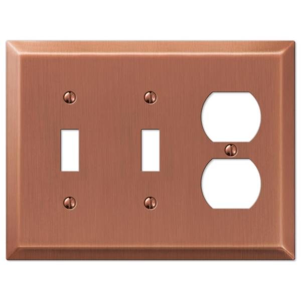Metallic 3 Gang 2-Toggle and 1-Duplex Steel Wall Plate - Antique Copper