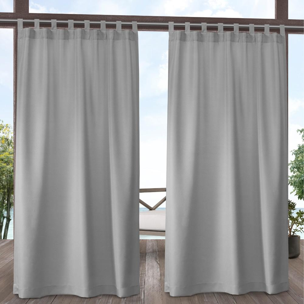Indoor Outdoor Solid 54 In W X 108 L Tab Top Curtain Panel Cloud Gray 2 Panels