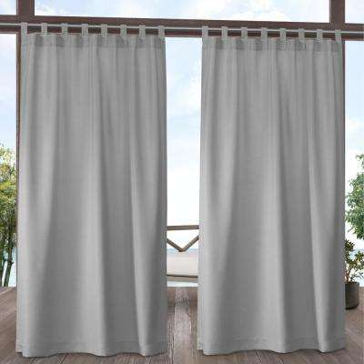 Indoor Outdoor Solid 54 in. W x 108 in. L Tab Top Curtain Panel in Cloud Gray (2 Panels)