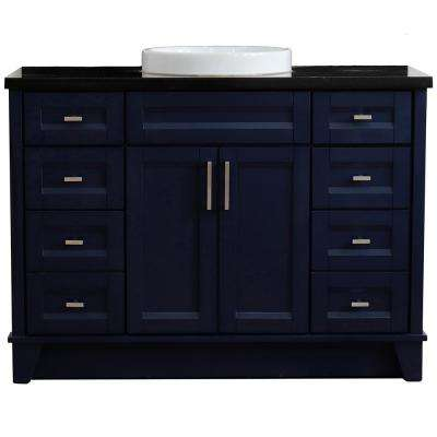 49 in. W x 22 in. D Single Bath Vanity in Blue with Granite Vanity Top in Black Galaxy with White Round Basin