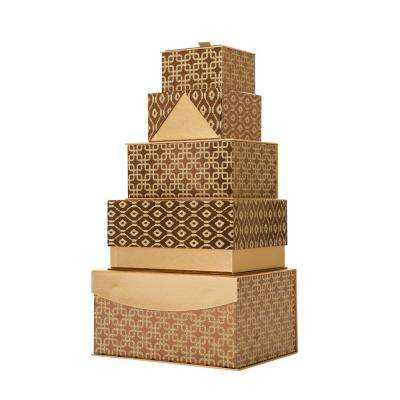 4.88 in. Metallic Gold Exterior Gift Box. (Set of 5)
