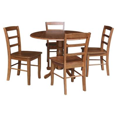 42 in. 5-Piece Distressed Oak Solid Wood Round Drop-leaf Table with 4-Side Chairs Set