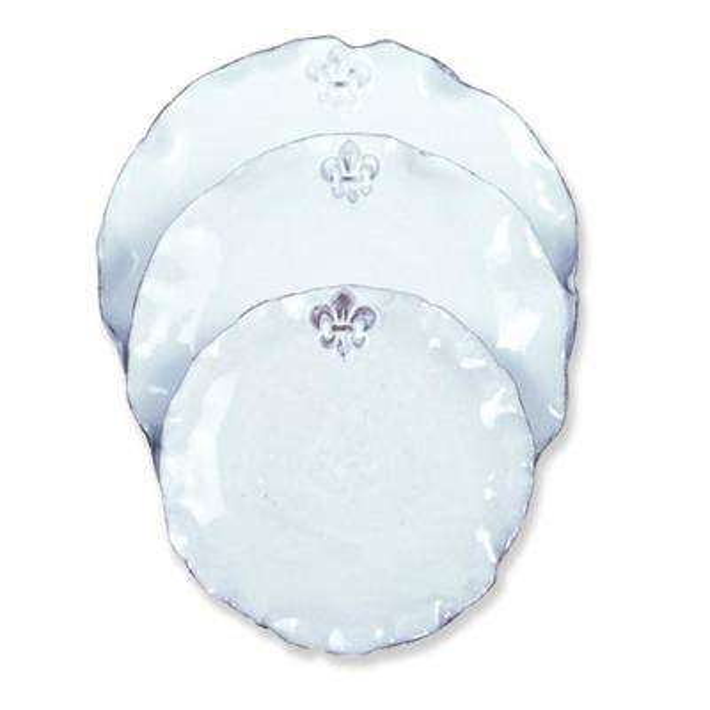 Fleur De Lis White Ceramic Salad Plate Set of 4