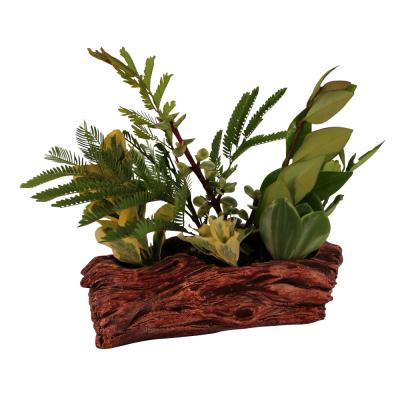 7 in. x 3.75 in. x 2.5 in. Ruby Ceramic Driftwood Knotted Log Planter