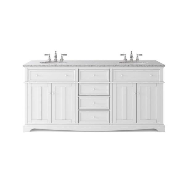 Fremont 72 in. W x 22 in. D Double Vanity in White with Granite Vanity Top in Grey with White Sink