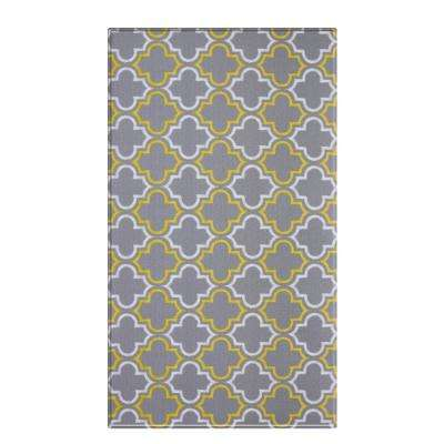 Soft Modern Gray and Yellow 8 ft. x 4.5 ft. Damask Reversible Indoor Area Rug