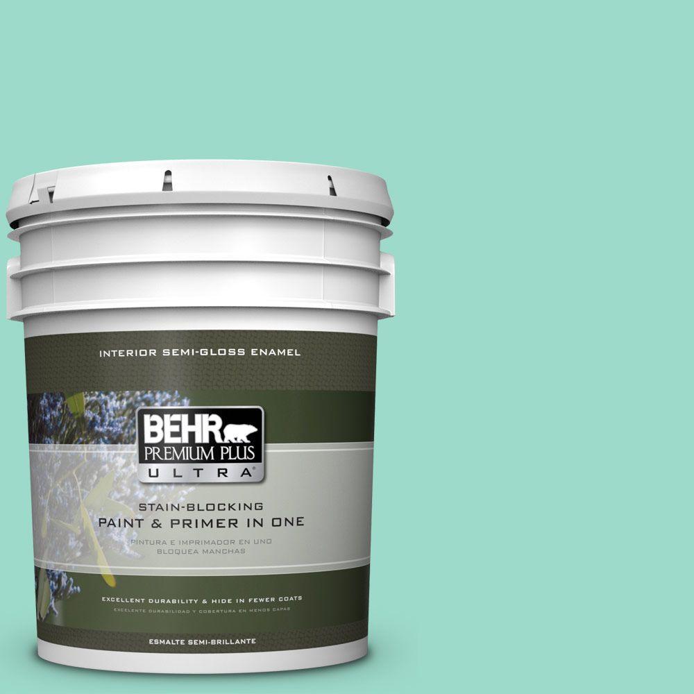 5 gal. #HDC-SP16-07 Isabella's Aqua Semi-Gloss Enamel Interior Paint
