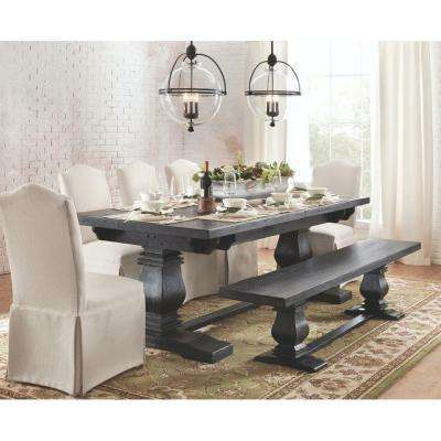 Aldridge Washed Black Extendable Dining Table