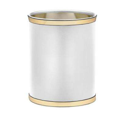 Sophisticates 13 Qt. White and Polished Brass Oval Waste Basket