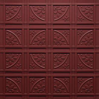 Lafayette Merlot 2 ft. x 2 ft. Glue-up Ceiling Tile and Backsplash Kit