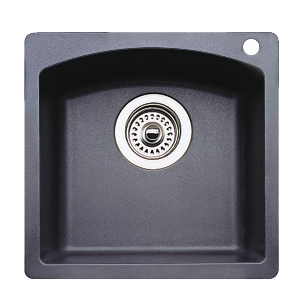 Blanco Diamond Dual Mount Composite 15 in. 1-Hole Single Bowl Bar Sink in Anthracite