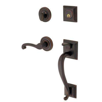 Madison Single Cylinder Oil Rubbed Bronze Right-Handed Handleset with Wave Lever
