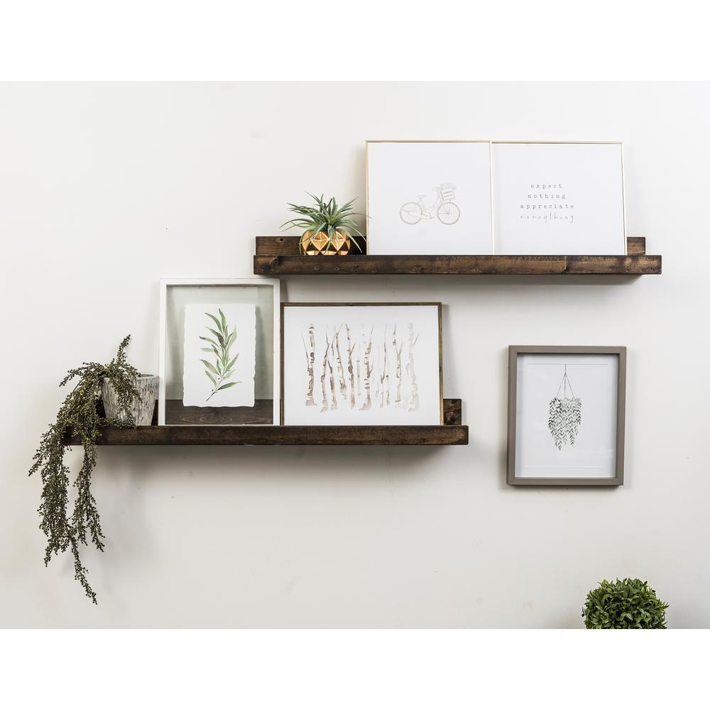 Del Hutson Designs Rustic Luxe 7 in. x 36 in. Dark Walnut Pine Floating Decorative Wall Shelves
