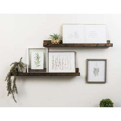 Rustic Luxe 7 in. x 36 in. Dark Walnut Pine Floating Decorative Wall Shelves