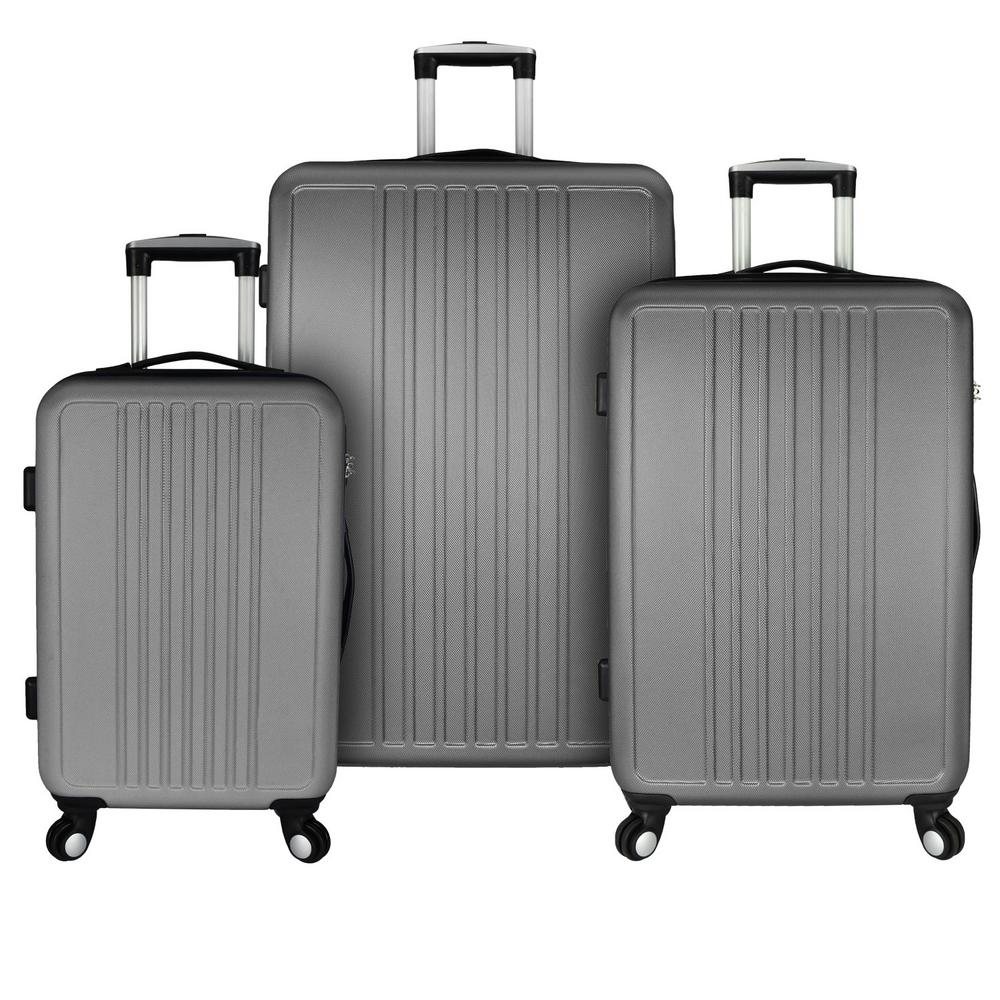 Elite Luggage Versatile 3-Piece Hardside Spinner Luggage Set, Grey