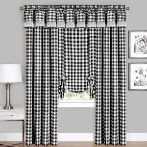Achim Buffalo Check 14 in.L Poly/Cotton Valance in Black by Achim