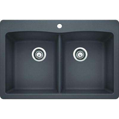 Diamond Dual Mount Granite Composite 33 in. 1-Hole Equal Double Bowl Kitchen Sink in Cinder