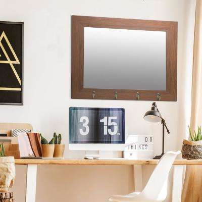 Foyer Hook Rectangular Dark Brown Wall Mirror