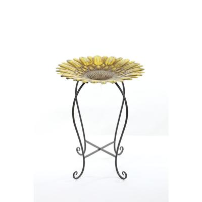 Embossed Metal Sunflower Birdbath