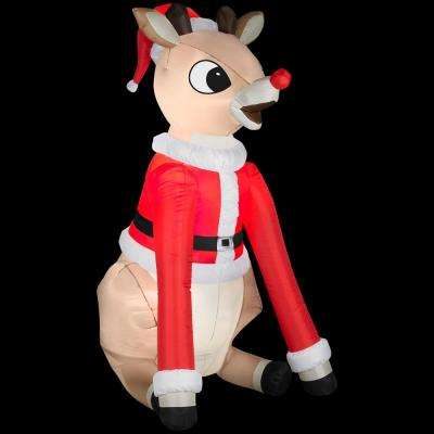 37 in. W x 42 in. D x 66 in. H Inflatable Rudolph in Santa Suit