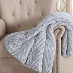 Grey and White Polyester Throw Blanket
