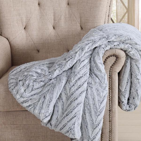 0076537a8 60 in. x 70 in. Grey Chevron Luxury Faux Fur Filled Throw with Gift Box. by Christian  Siriano