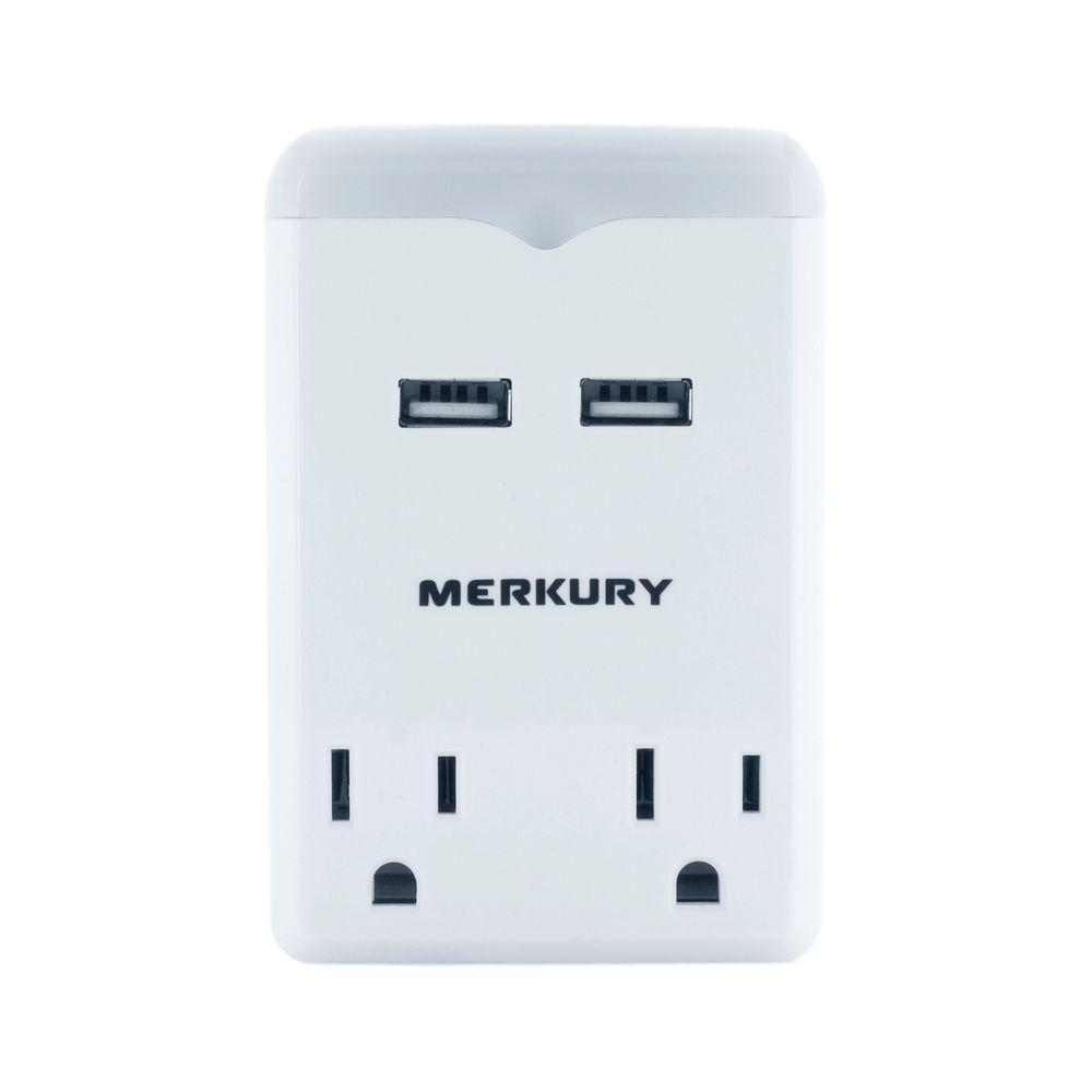 Nightlight 2-AC Outlet and 2-USB Port 2.1 Amp Power Charging Station