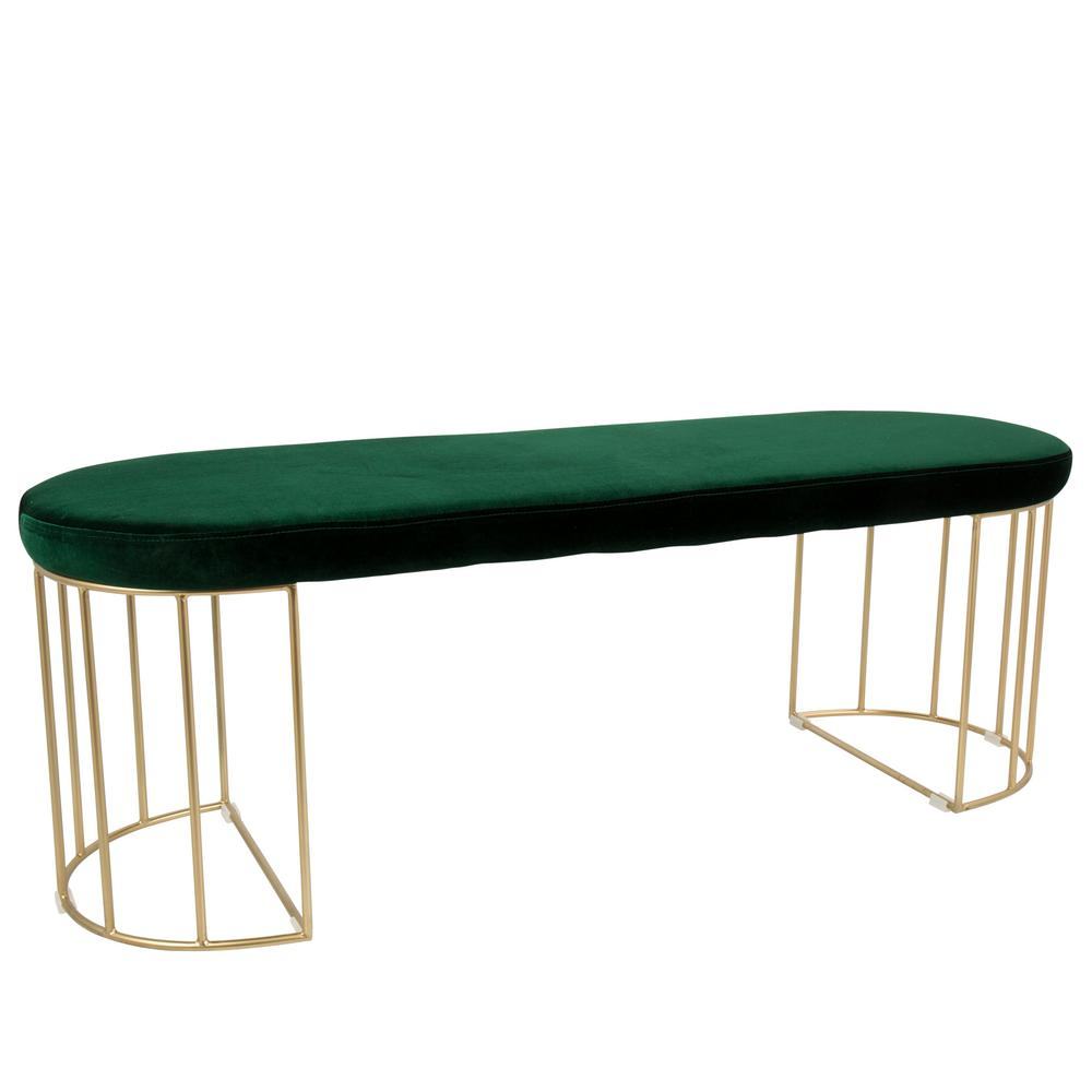 Lumisource Canary Green Velvet with Gold Dining/Entryway ...