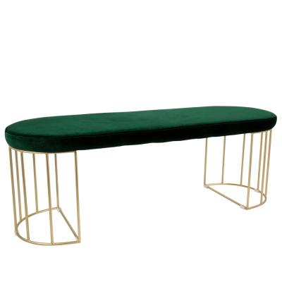 Canary Green Velvet with Gold Dining/Entryway Bench