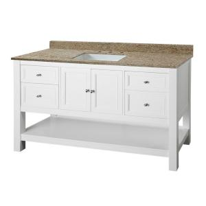Home Decorators Collection Gazette 61 inch W x 22 inch D Vanity in White with Granite... by Home Decorators Collection