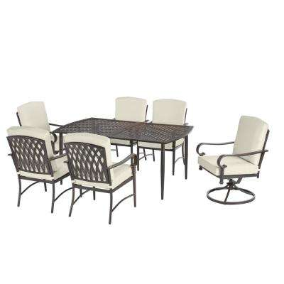 Oak Cliff Custom 7-Piece Outdoor Dining Set with Cushions Included, Choose Your Own Color