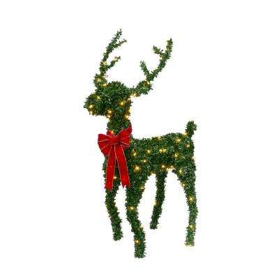 36 in. H Electric Green PVC Reindeer with 150 Warm White LED Lights and Red Velvet Bow