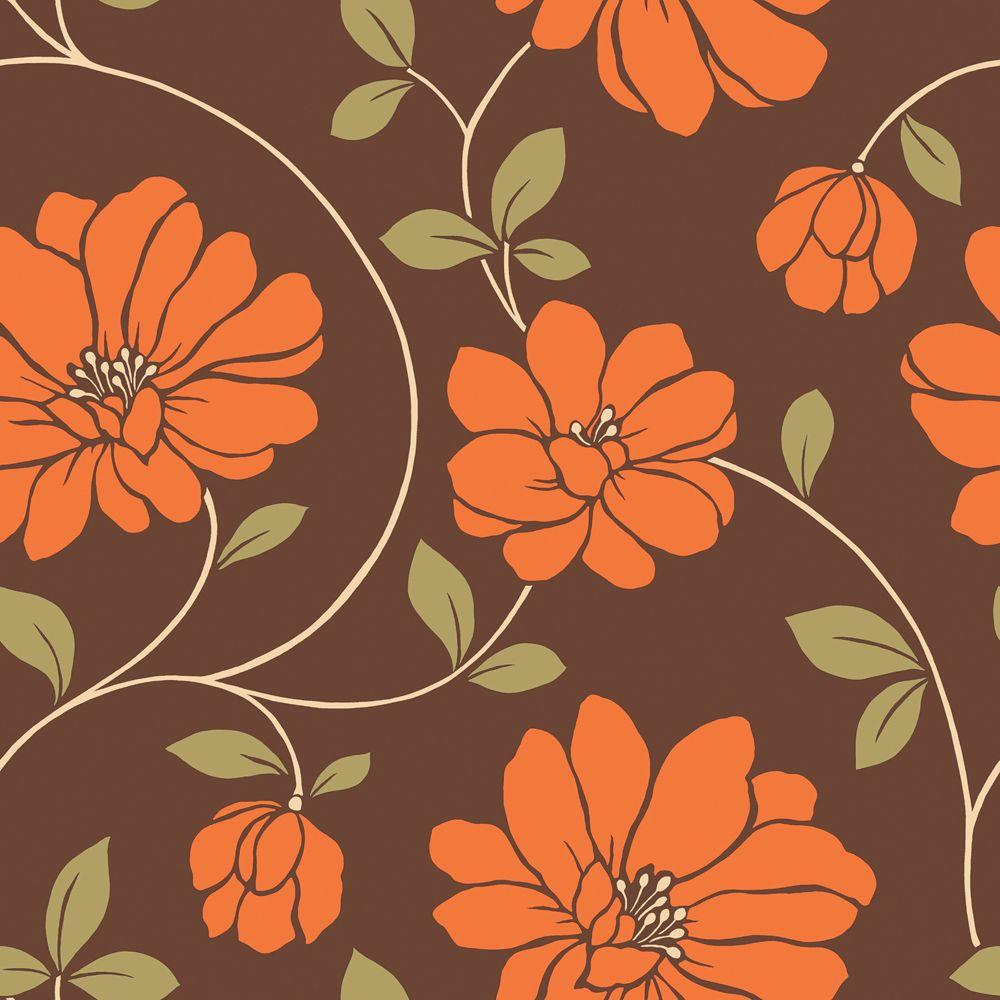 The Wallpaper Company 8 in. x 10 in. Orange and Brown Large Scale Retro Floral Trail Wallpaper Sample