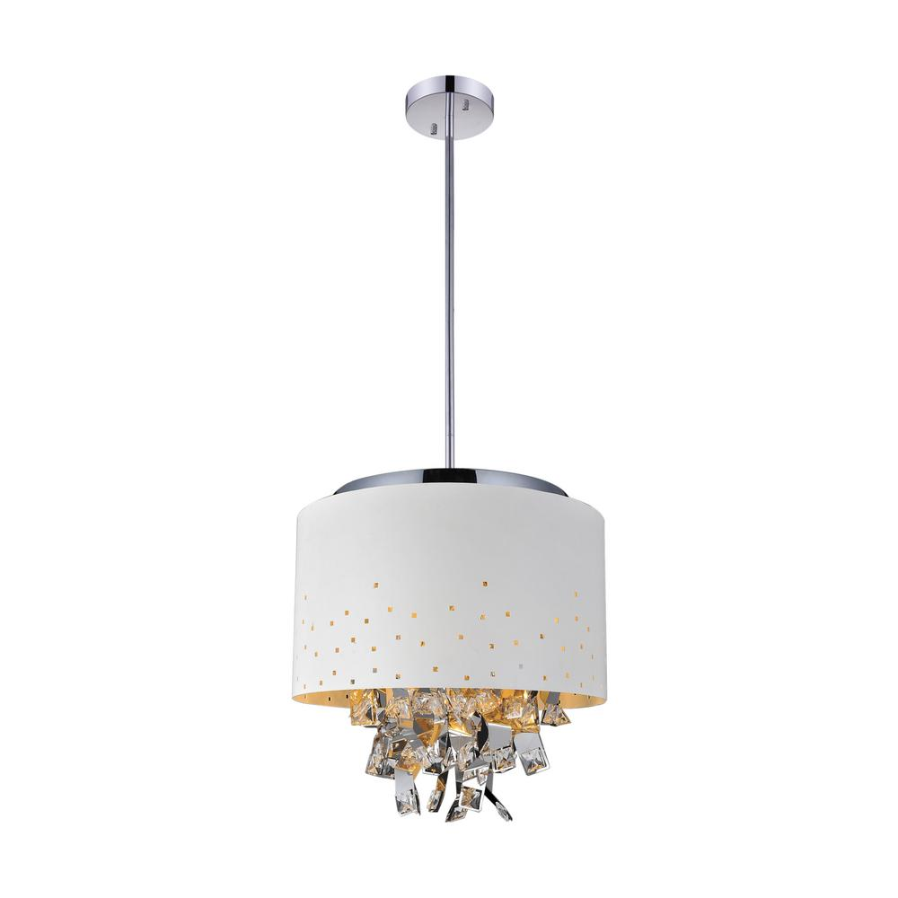 Carmella 5-Light White Chandelier with White shade