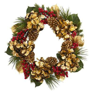24 in. Unlit Artifical Holiday Wreath with Golden Hydrangea, Berries and Pine