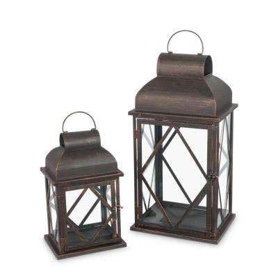 Brown Bronze Metal Nested Lantern (Set of 2)