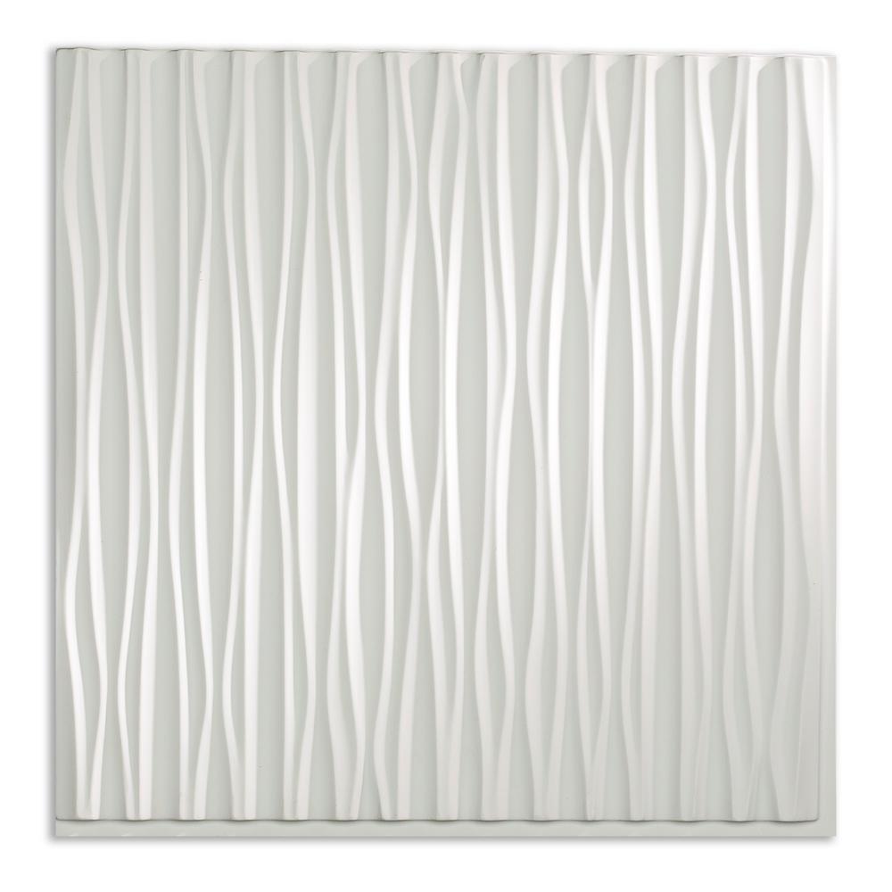 Fasade Dunes Vertical 2 Ft X 2 Ft Glue Up Vinyl Ceiling Tile In Gloss White 20 Sq Ft Pg7000 The Home Depot