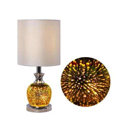 18.5 in. Polished Nickel Metal and Glass Table Lamp with 5D Shooting Star Nightlight Design