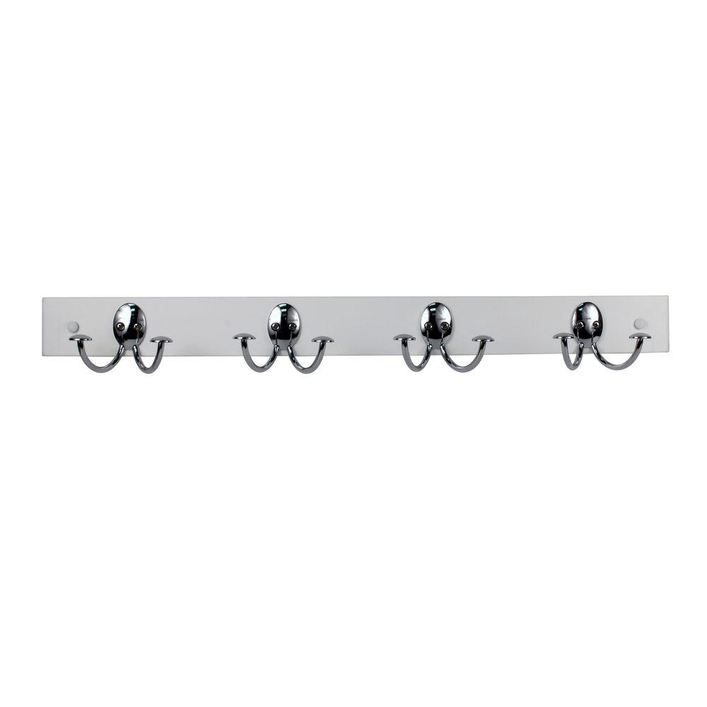White with Chrome Stratford 24 in. L Decorative 4-Double Hooks Wall Mount Wood Rack, White Wood With Chrome Hooks